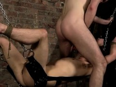 Smooth male muscle bondage and gay slave boy Face Fucked