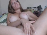 Pretty Babe with Natural Big Juggs Fucks Herself