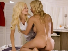 Gorgeous busty MILF gets a lesbian massage by a teen