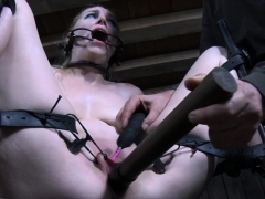 Chair restrained sub cunt toyed till wet