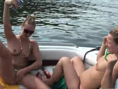 Lovely chicks relax on the boat