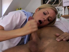 British beauty sucks and jerks old mans cock