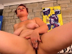 Redhead Mature Woman Shows Her Mature Tits Pussy And Ass
