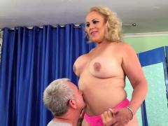 Mature Blonde Slut Visits A Masseur He Inspects Her Naked