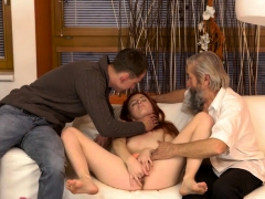 DADDY4K. Boy caught old dad fingering his GF and quickly...