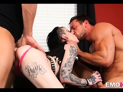 Tattooed Whore Gets Cock In Every Hole