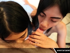Twins Thai Slut Share A Cock