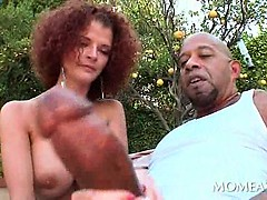 Outdoor blowjob and tugjob with slutty babe and giant dick