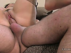 Petite MILF in stockings fucking on casting