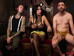 Slave fucked by busty domina and her male friend