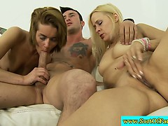 Blonde step relatives drool on one cock