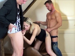 Tiny German Teen Tricked to 3Some Fuck by Two Fake Agent