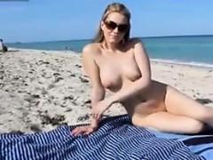 Naked Beach Babe Having Fun In The Sun