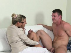Female agent recording couple fucking on casting