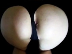 She gets fucked doggy style with her thongs on