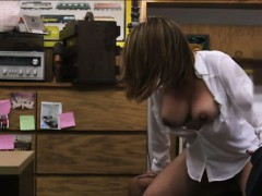 Huge boobs business lady hard pounded with nympho pawnkeeper