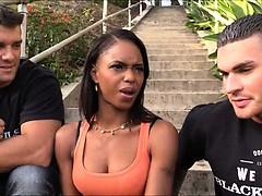 Beautiful black chick Marie Luv sucking while anal fucking