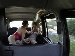 Two big titted women horny lesbian scene in the cab